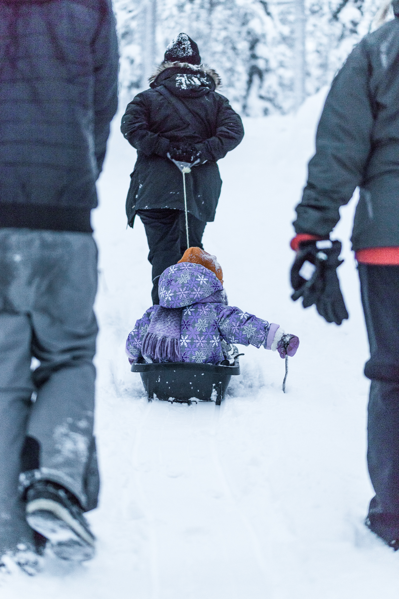 Winter activities in Ylläs with a three-year-old